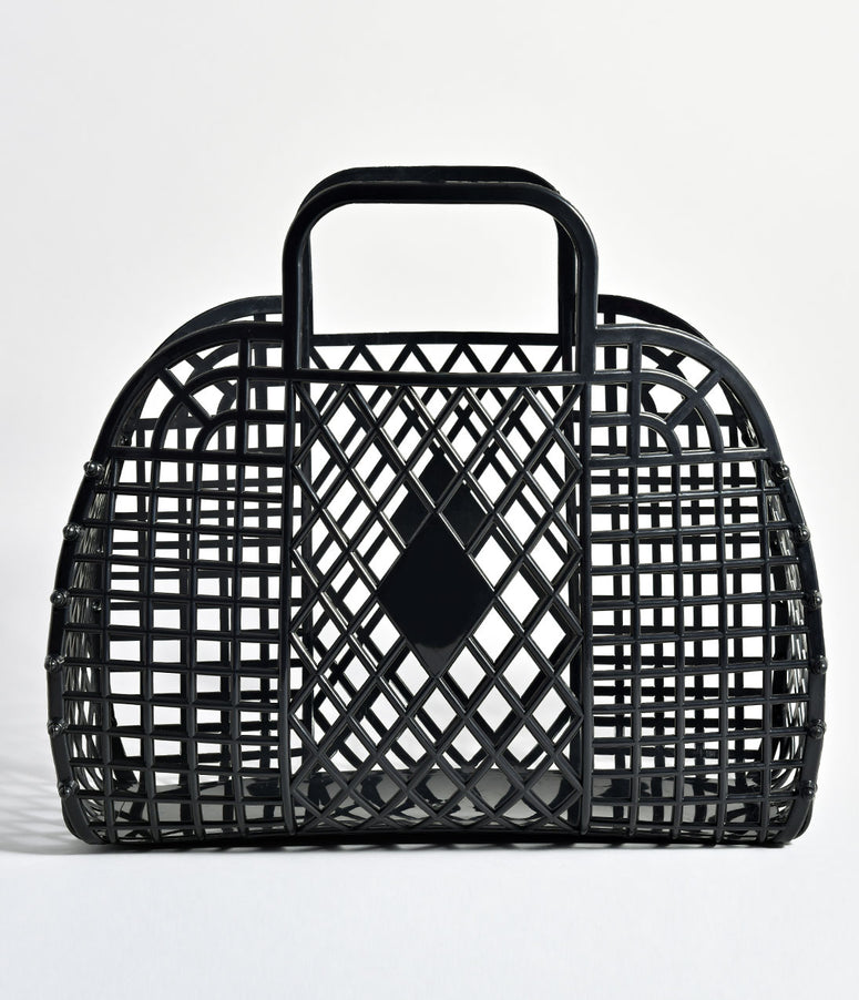 Black Retro Cutout Jelly Plastic Basket