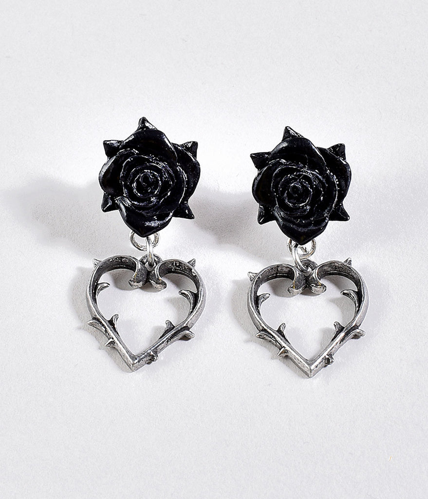 Black Rose & Silver Thorn Heart Drop Earrings
