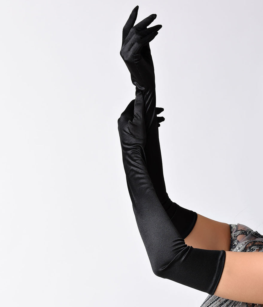 Black Satin 23'' Opera Length Gloves - One Size