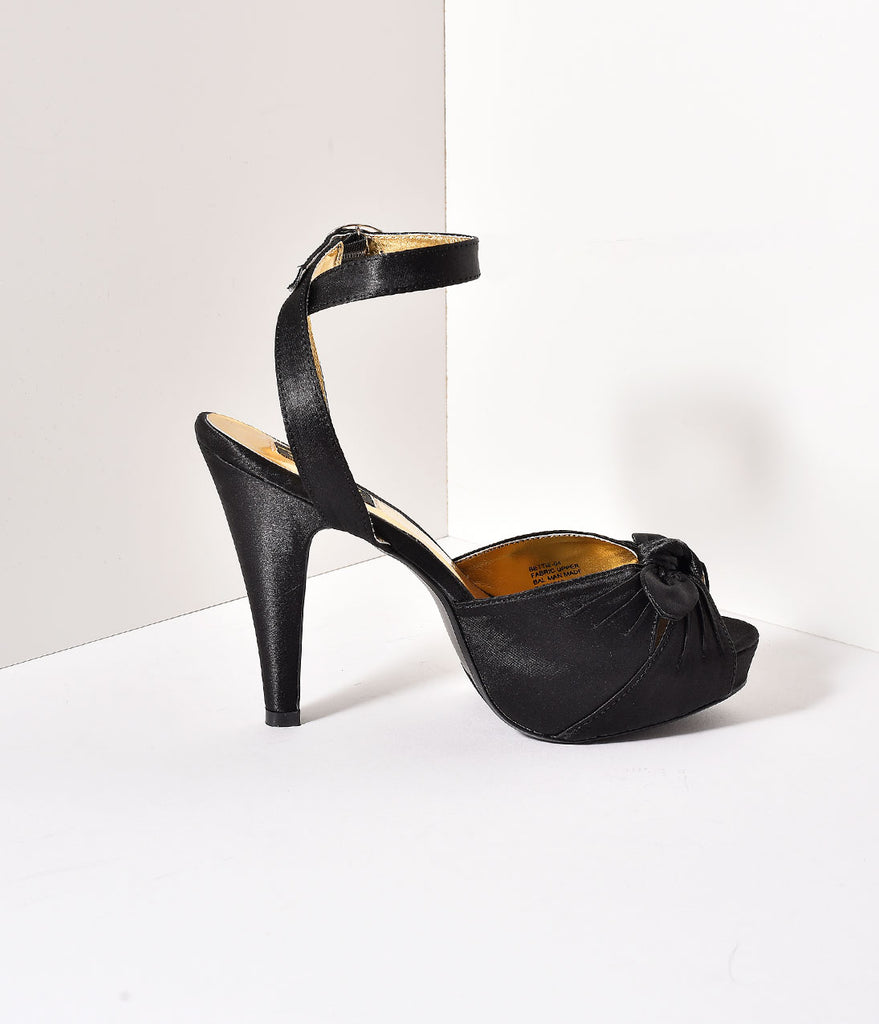 Black Satin Bettie Knot Heels