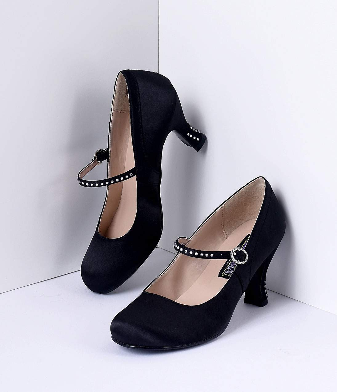 Vintage Style Shoes, Vintage Inspired Shoes Black Satin Flapper Style Rhinestone Kitten Heels $62.00 AT vintagedancer.com