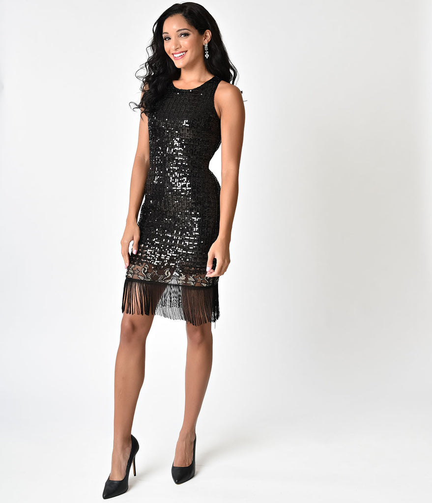 Black Sequin Beaded Fringe Short Flapper-Style Cocktail Dress