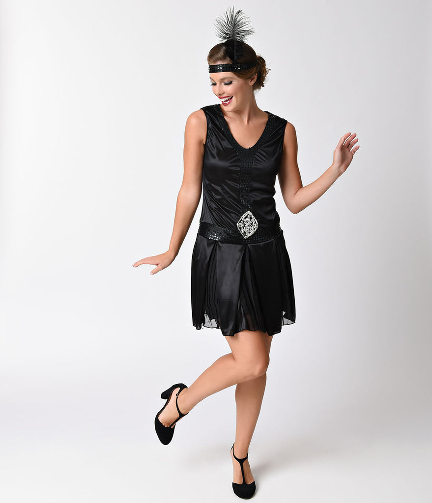 Black Sequin Debutante Flapper Costume