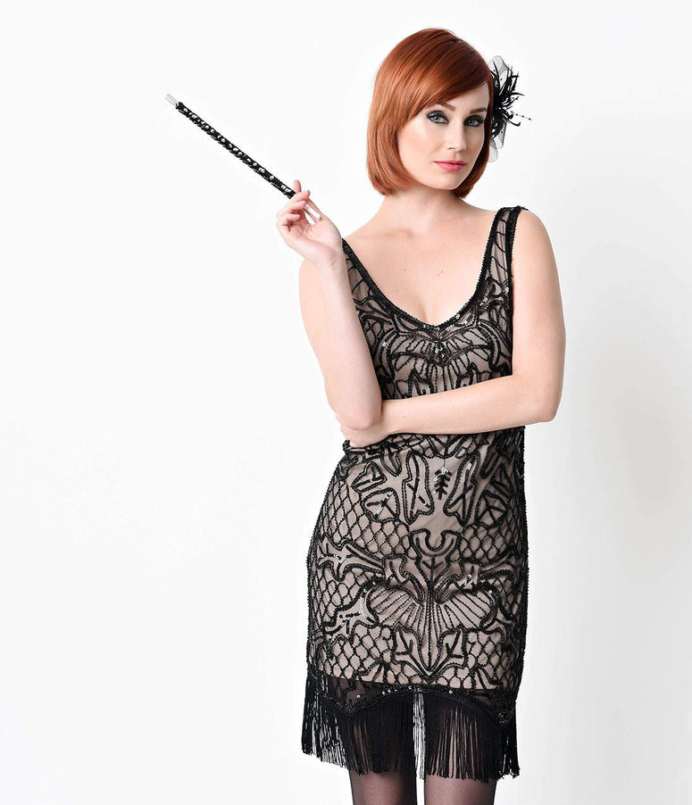 Black Sequin Flapper Costume Cigarette Holder