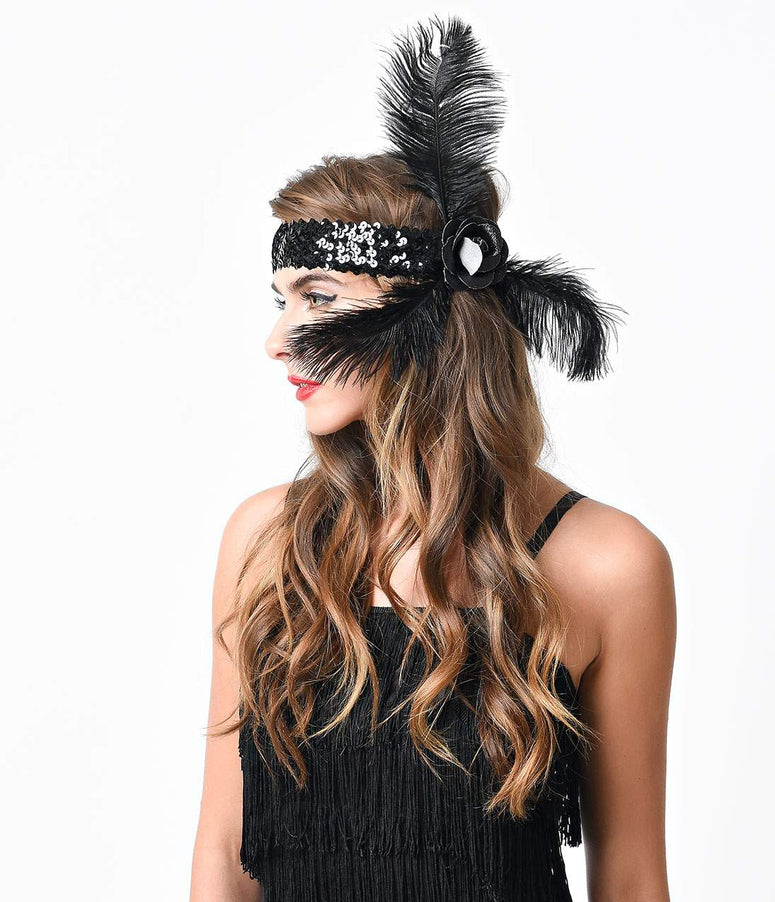 Black Sequined Glitter Rose & Feather Flapper Headband