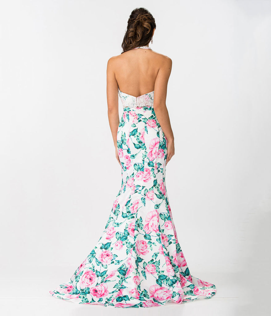 Black Sexy Lace Floral Print Two Piece Gown