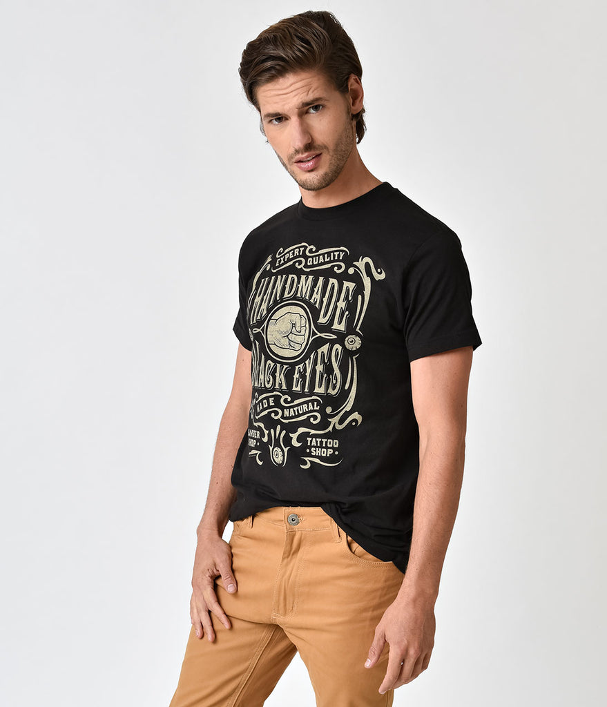 Black Short Sleeve Black Eyes Guys Cotton Tee Shirt