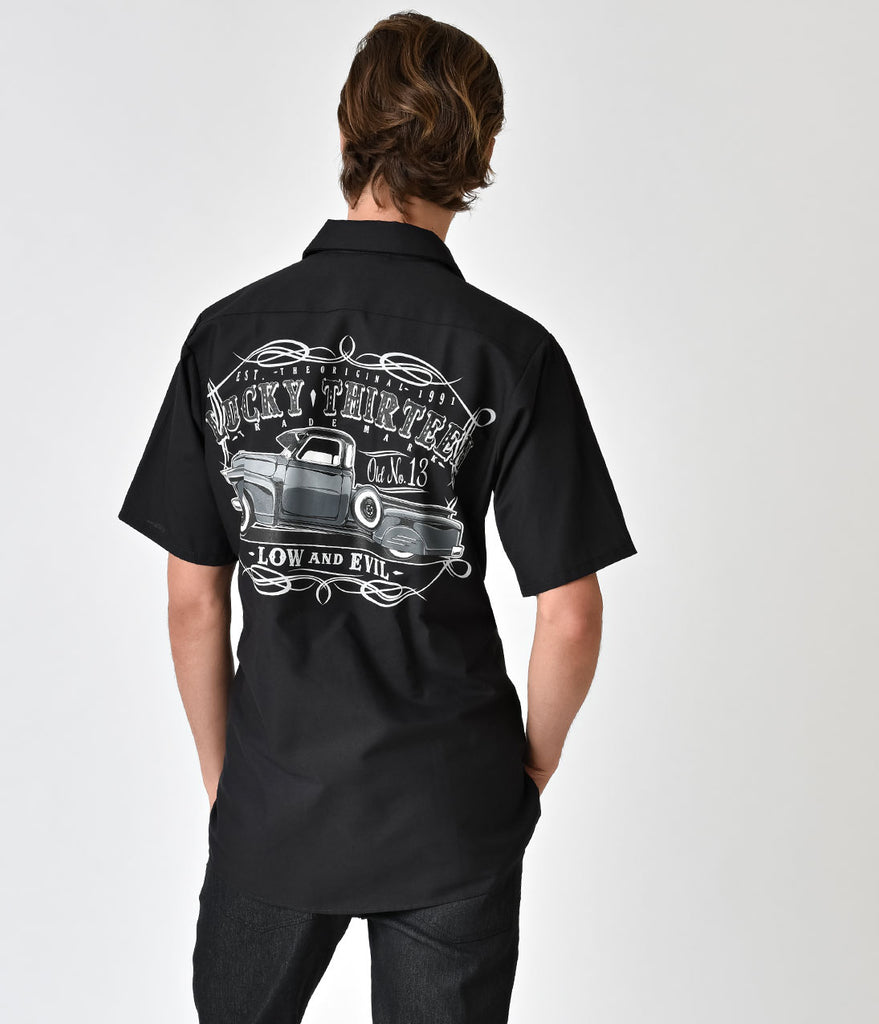 Black Short Sleeve The Dragger Button Down Rockabilly Tee