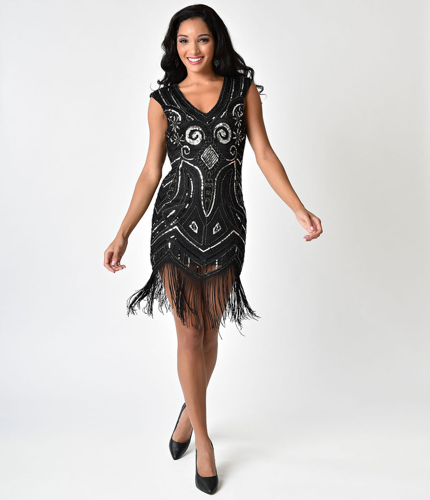 Black silver sequin cap sleeve fringe flapper style cocktail dress ombrellifo Images