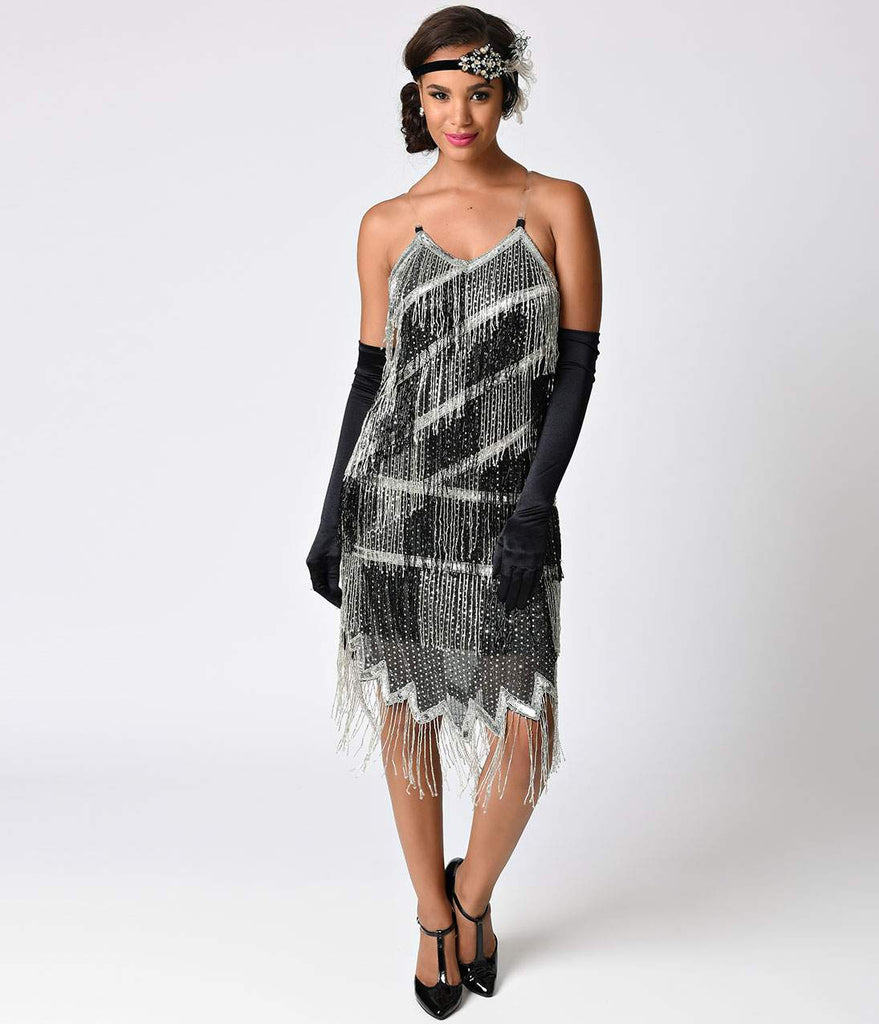 Black & Silver Sequin & Fringe Flapper Dress