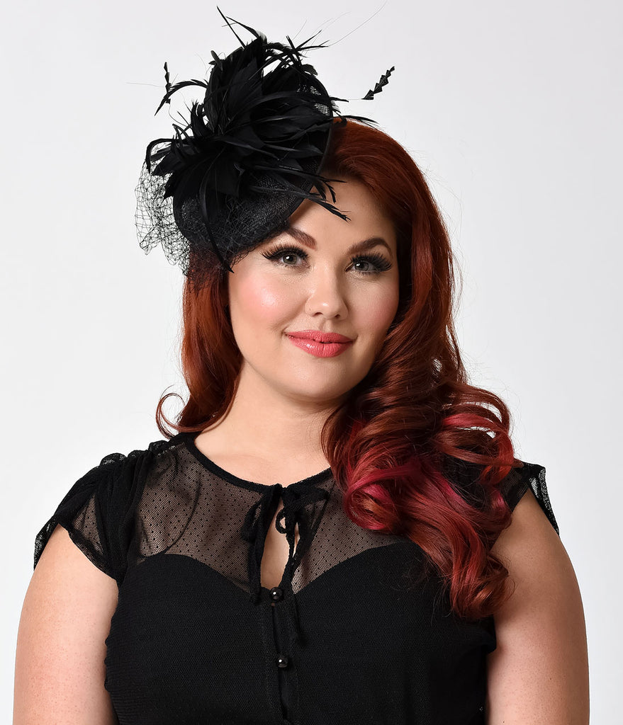 Black Sinamay & Netted Feather Fascinator Hair Clip