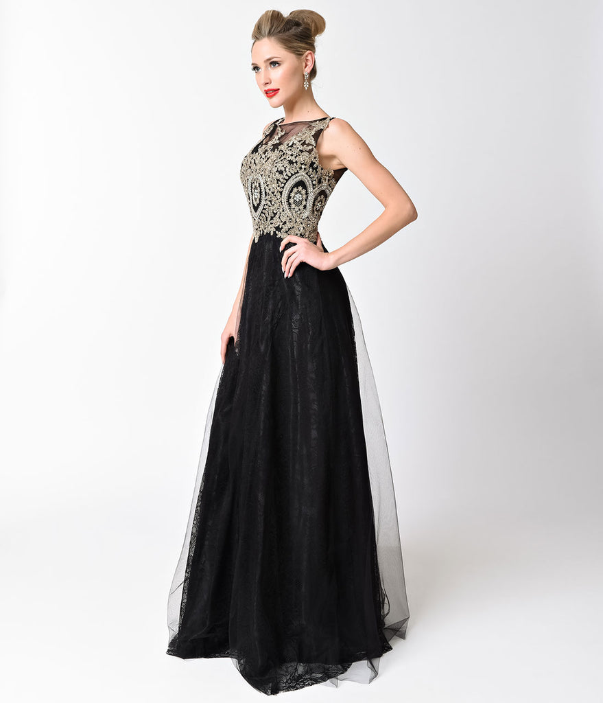 Black Sleeveless Embellished Tulle Long Dress