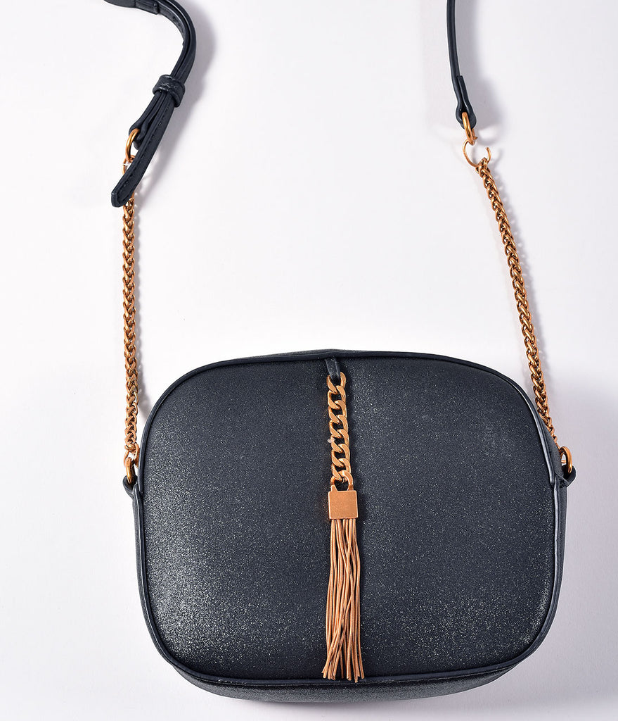 Black Sparkle & Gold Fringe Handbag