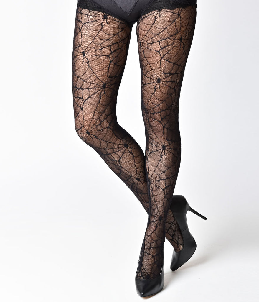 Black Spiderweb Nylon Pantyhose