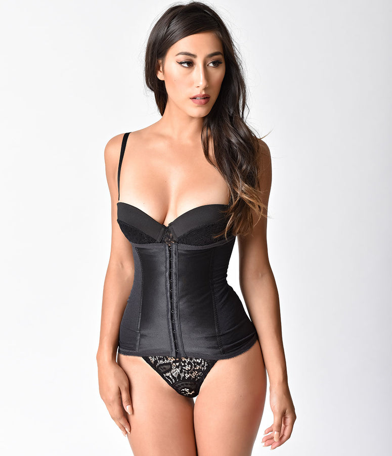 Unique Vintage Black Stretch Power Mesh Waist Cincher