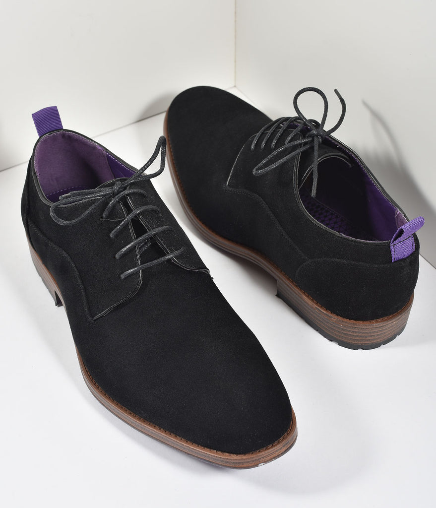 Black Suede Lace Up Mens Loafers