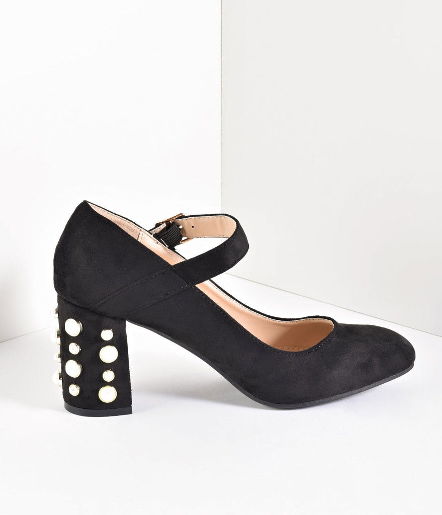 Black Suede Mary Jane Pearl Block Pumps