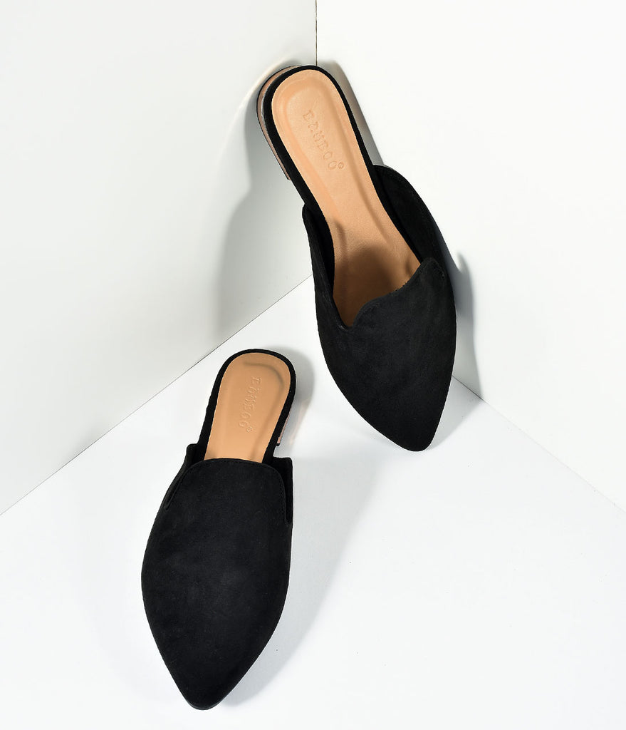 Black Suede Pointed Toe Mule Slide Flats