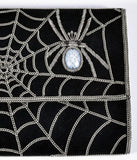 Black Suede & Silver Chain Spiderweb Envelope Clutch