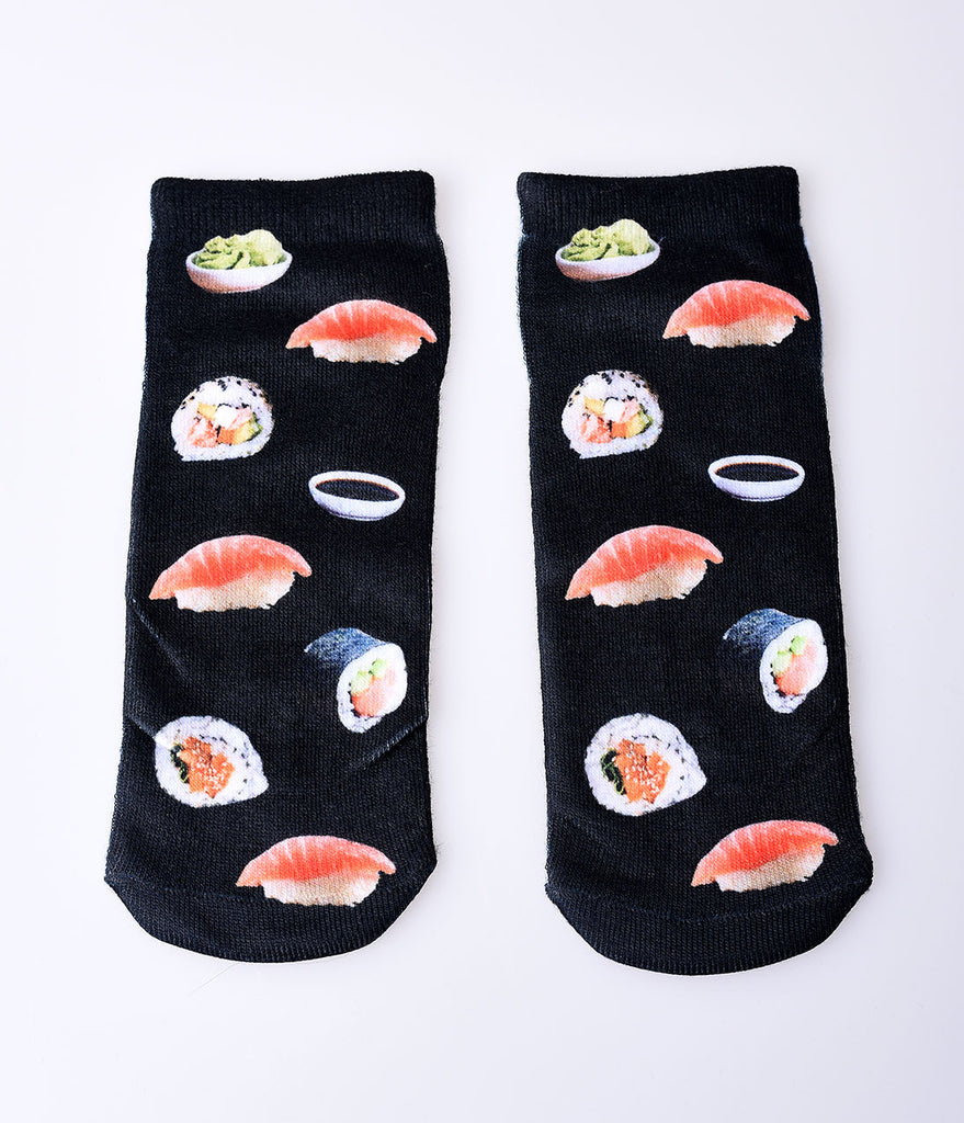Black & Sushi Print Knit Ankle Socks