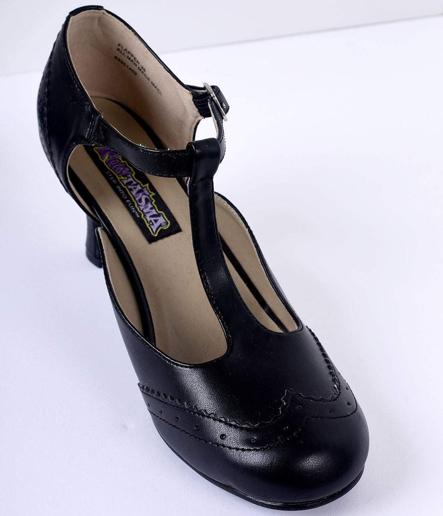 Black T-Strap Mary Jane Kitten Heels