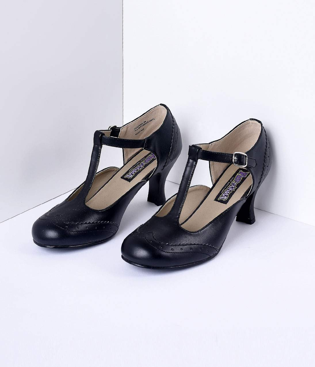 Women's 1920s Shoe Styles and History Black T-Strap Mary Jane Heels $68.00 AT vintagedancer.com