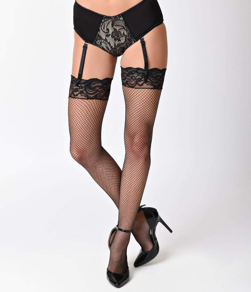 Black Thigh High Fishnet & Lace Stockings