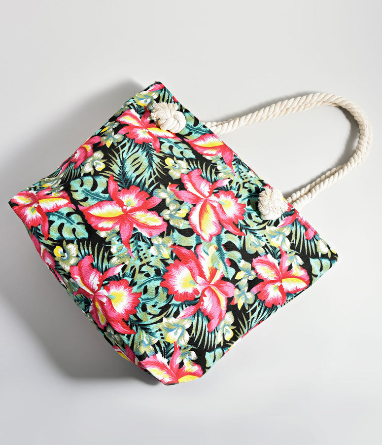 Black Tropical Floral Print Tote Bag