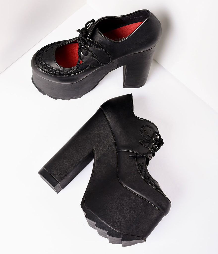 Black Vegan Leather Gothic Mary Jane Platforms