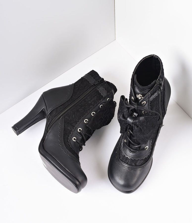 Black Vegan Leather & Lace Bow Ankle Boots