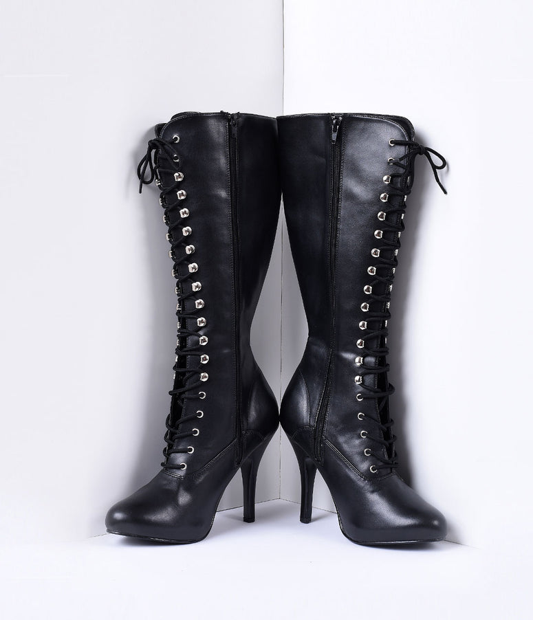 Black Vegan Leather Lace Up Knee High Stiletto Boots