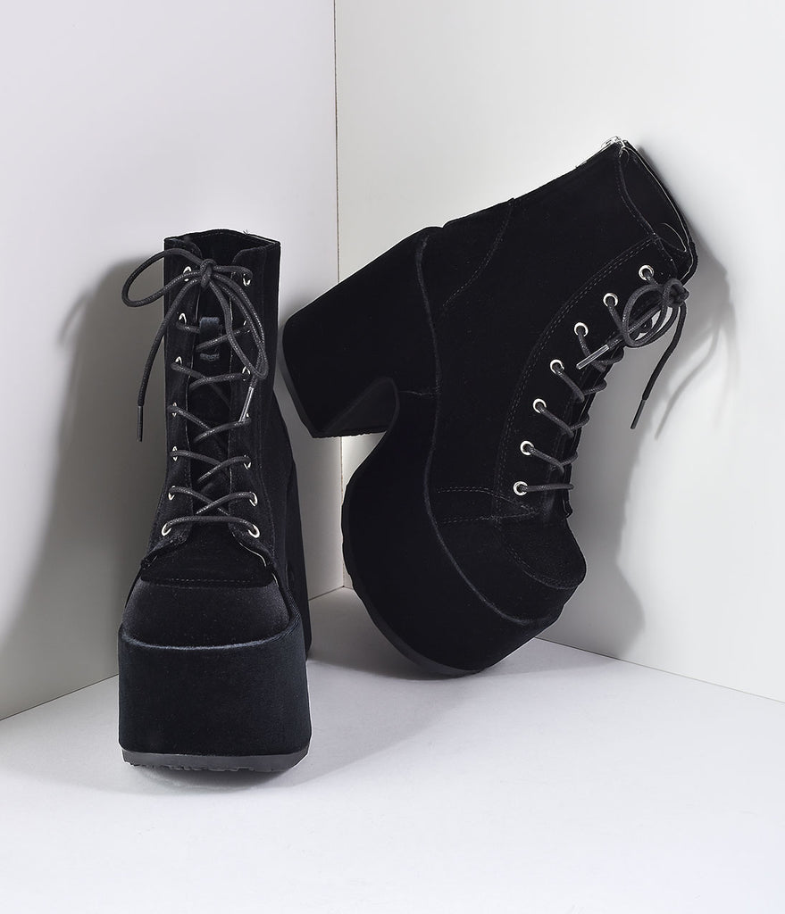 Black Velvet Lace Up Camel Platform Boots