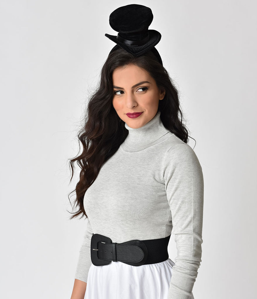 Black Velvet Top Hat Headband