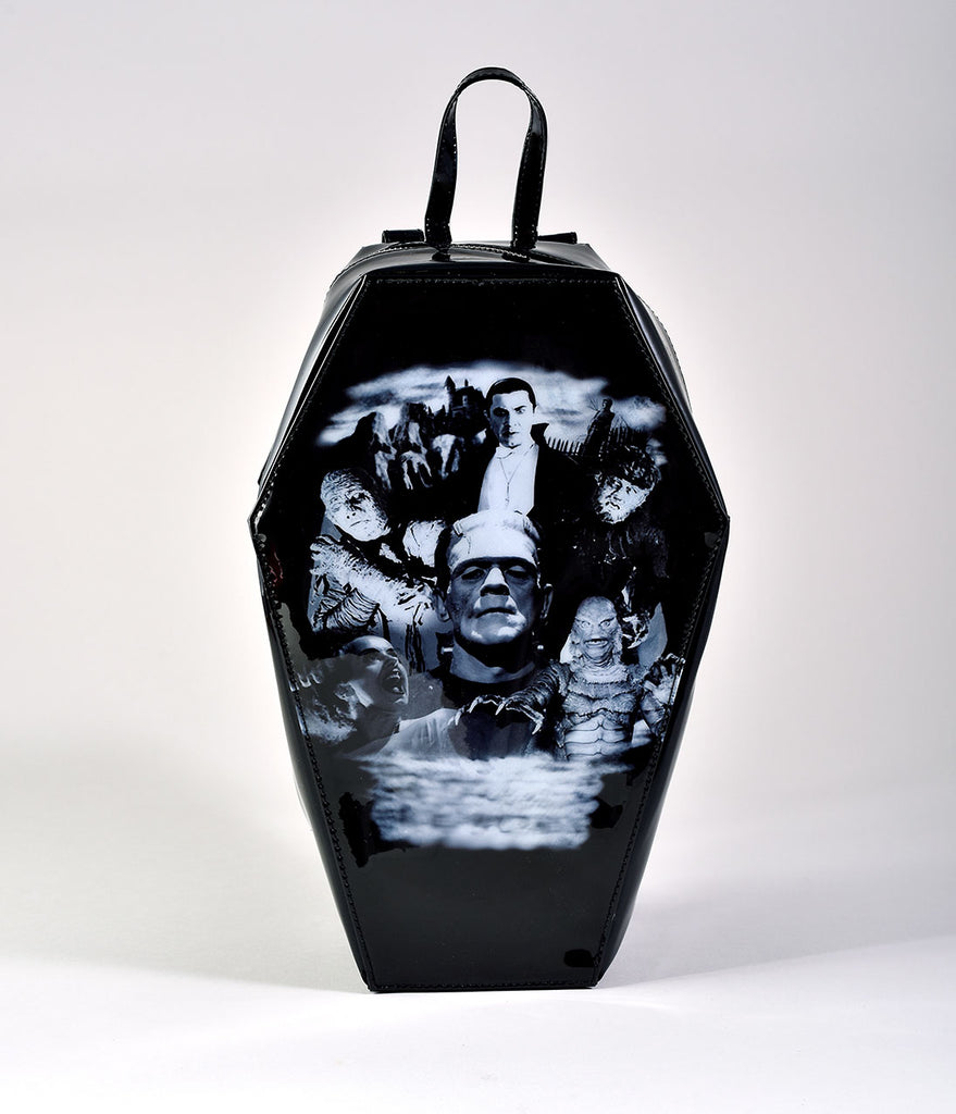 Black Vinyl Monster Collage Coffin Backpack