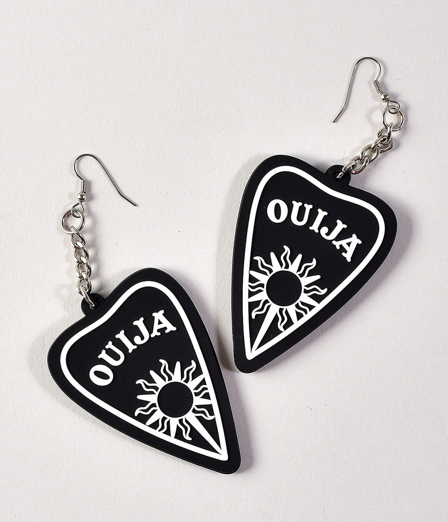 Black & White 3D Silicone Ouija Dangle Earrings