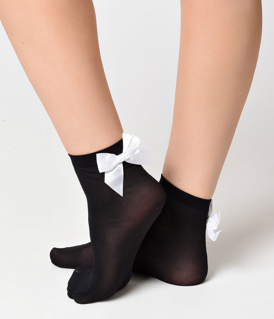 Black & White Bow Ankle Sock