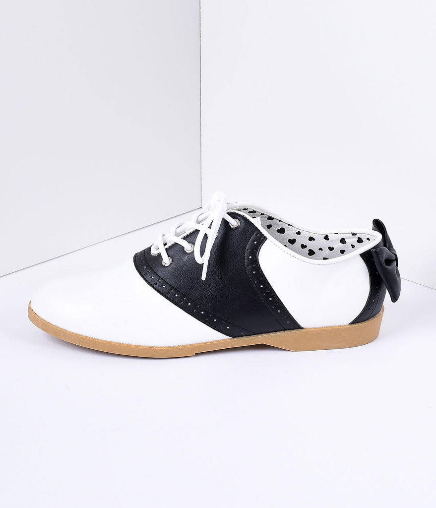 Black & White Classic Lace Up Bow Saddle Shoes