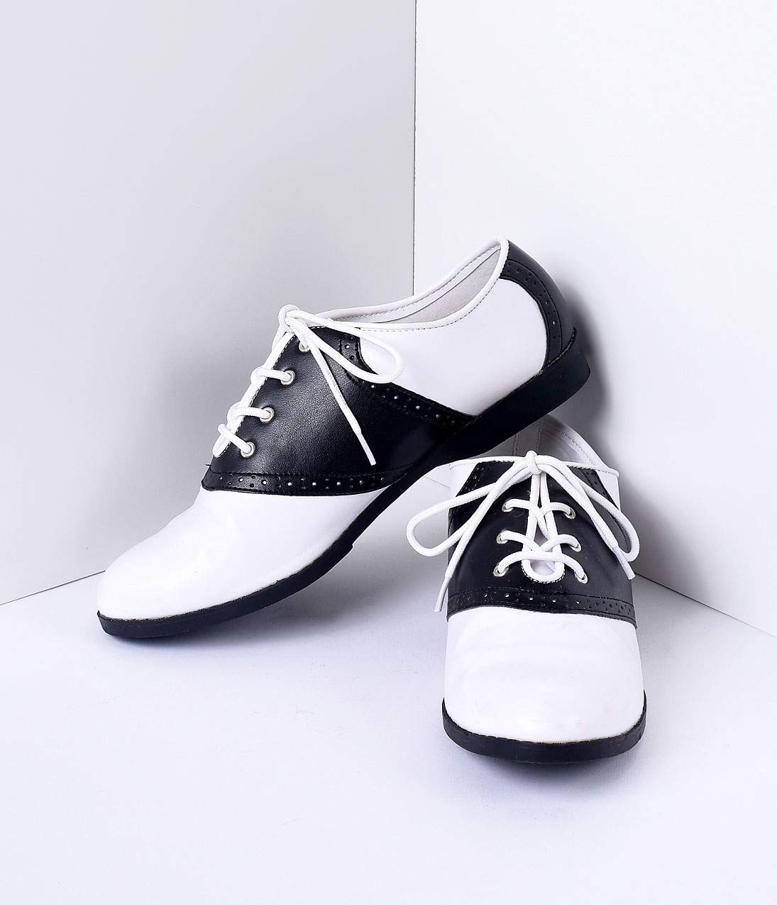 Vintage Style Shoes, Vintage Inspired Shoes Black  White Classic Lace Up Saddle Shoes $48.00 AT vintagedancer.com