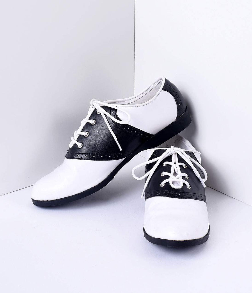 3b71ea04e97ff Black & White Classic Lace Up Saddle Shoes