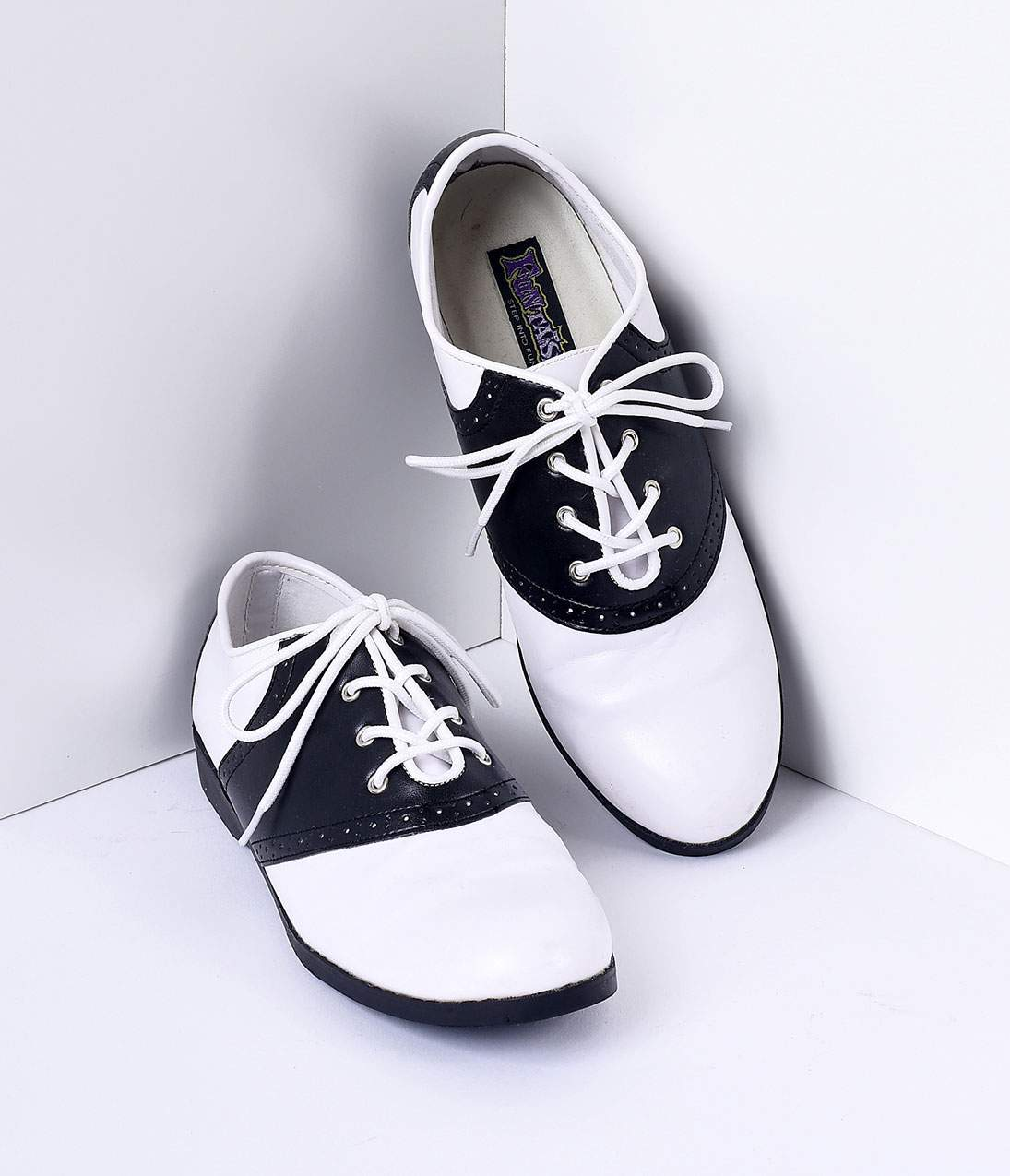 39d4f273be26c Black & White Classic Lace Up Saddle Shoes – Unique Vintage