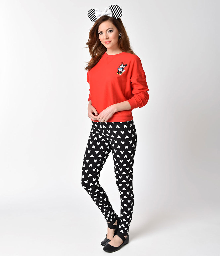 Black & White High Waist Mickey Mouse Print Stretch Leggings