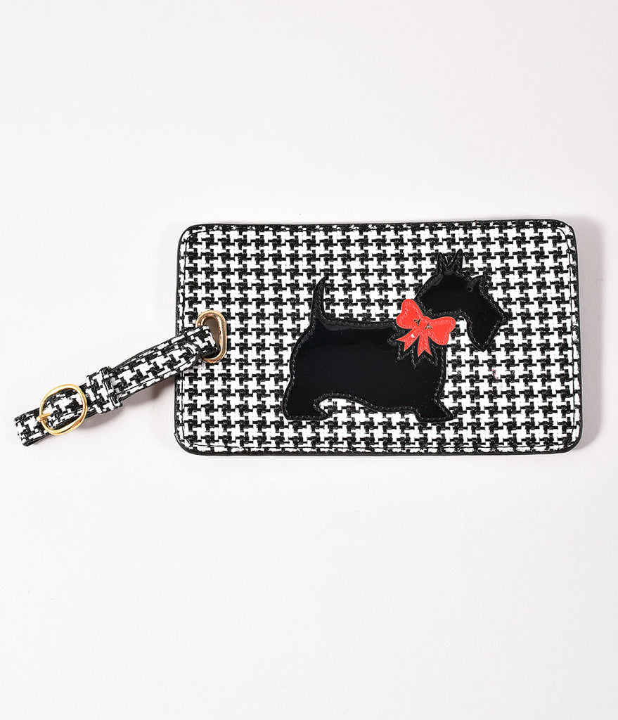 Black & White Houndstooth Scottie Luggage Tag