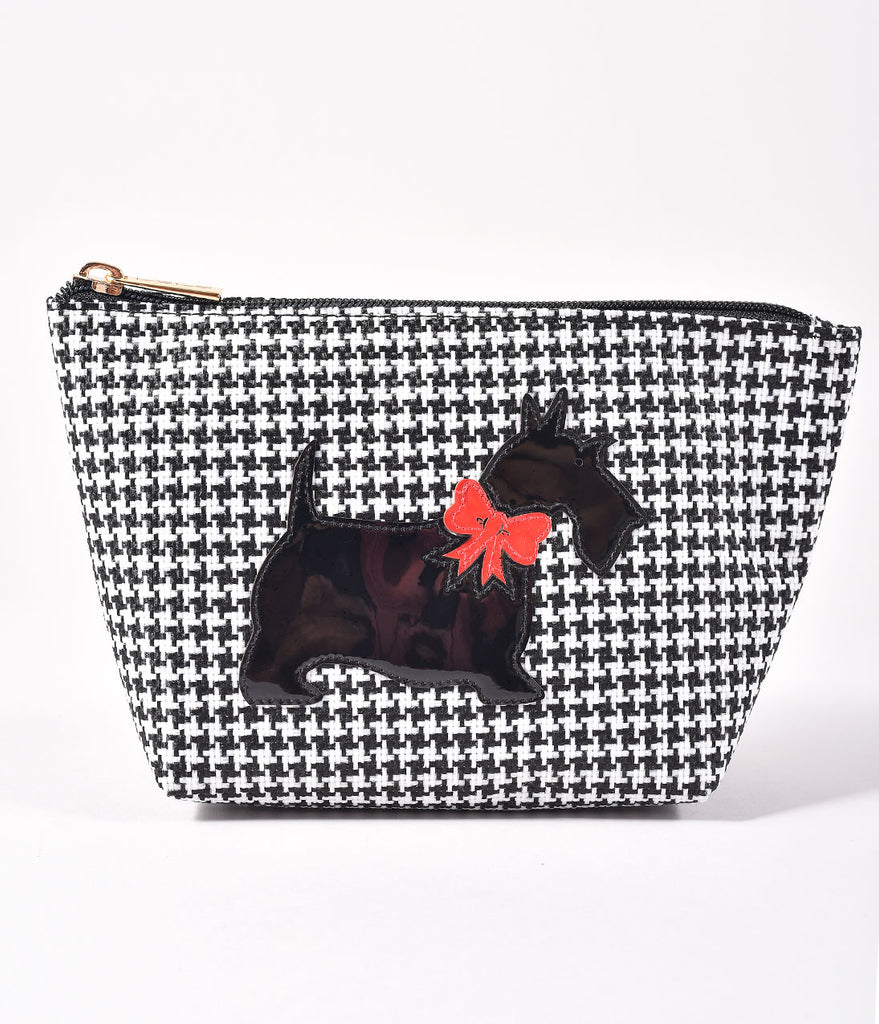 Black & White Houndstooth With Scottie Dog Medium Avery Cosmetic Bag