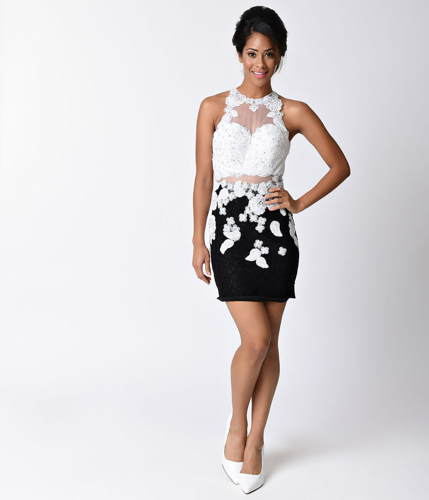 Black & White Lace Sleeveless Illusion Two Piece Fitted Short Dress