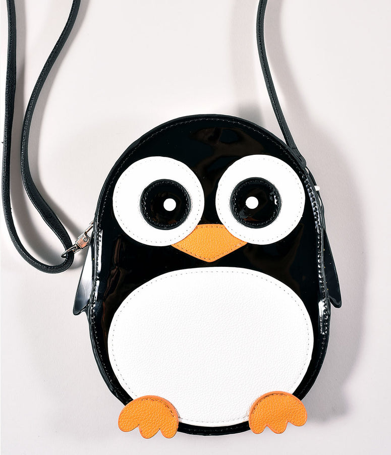 Black & White Leatherette Penguin Crossbody Bag