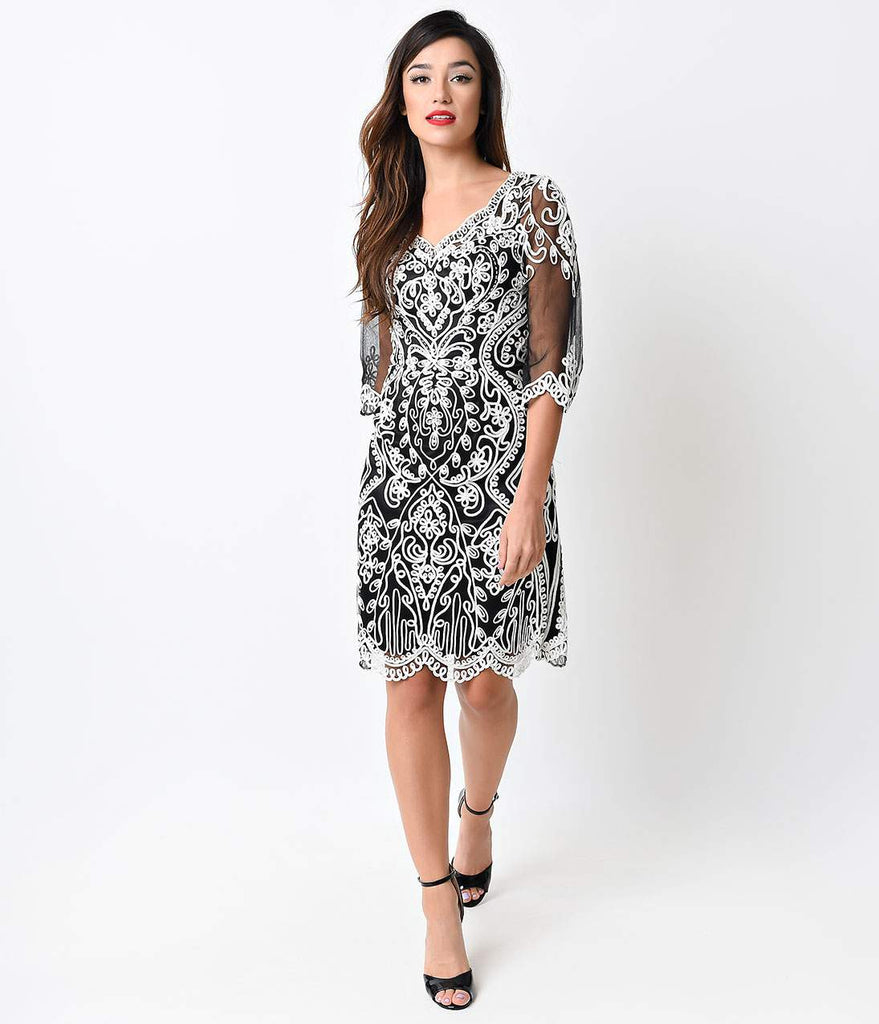 Black & White Looped Ribbon Sleeved Short Dress