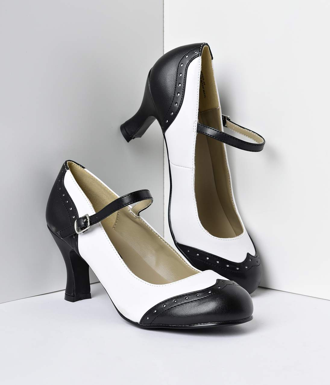 Vintage Style Shoes, Vintage Inspired Shoes Black  White Mary Jane Kitten Spectator Heels $58.00 AT vintagedancer.com