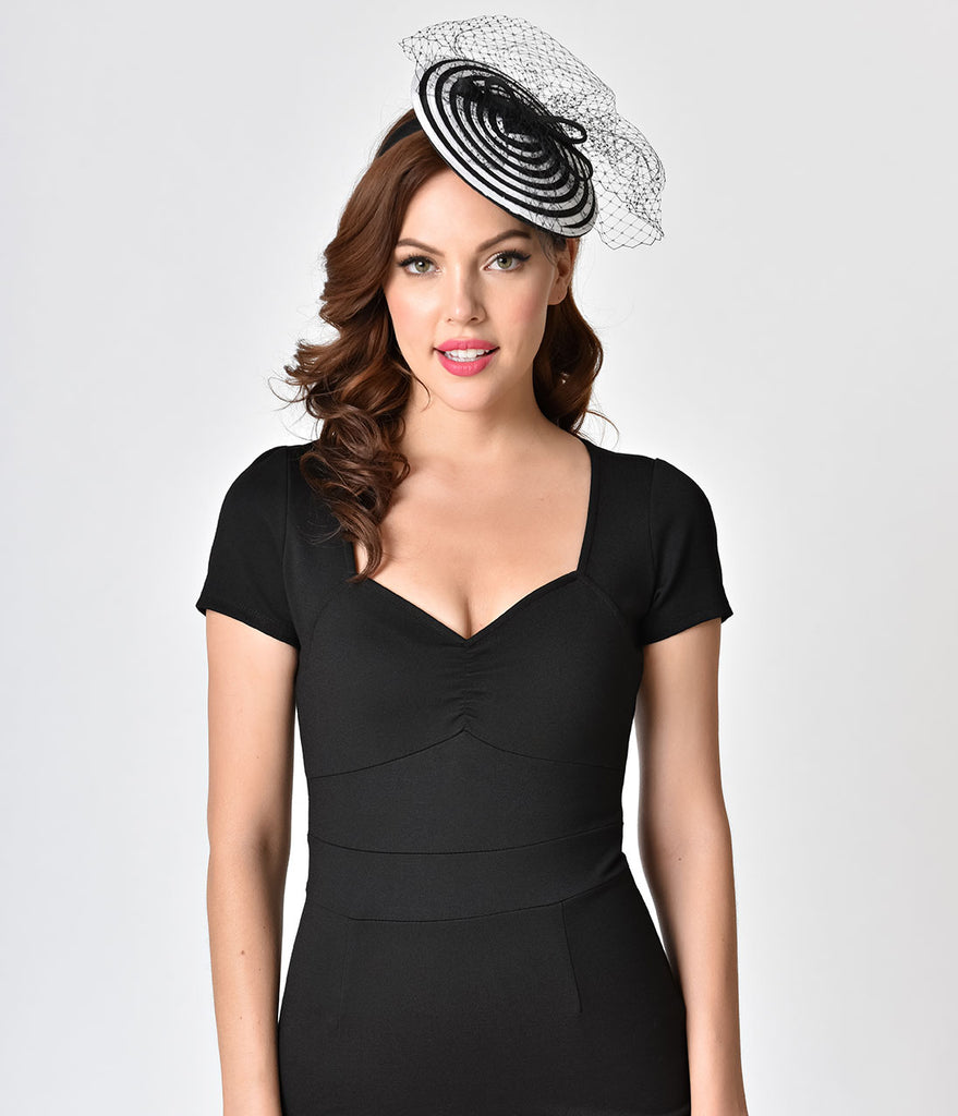 Black & White Netted Swirl Fascinator