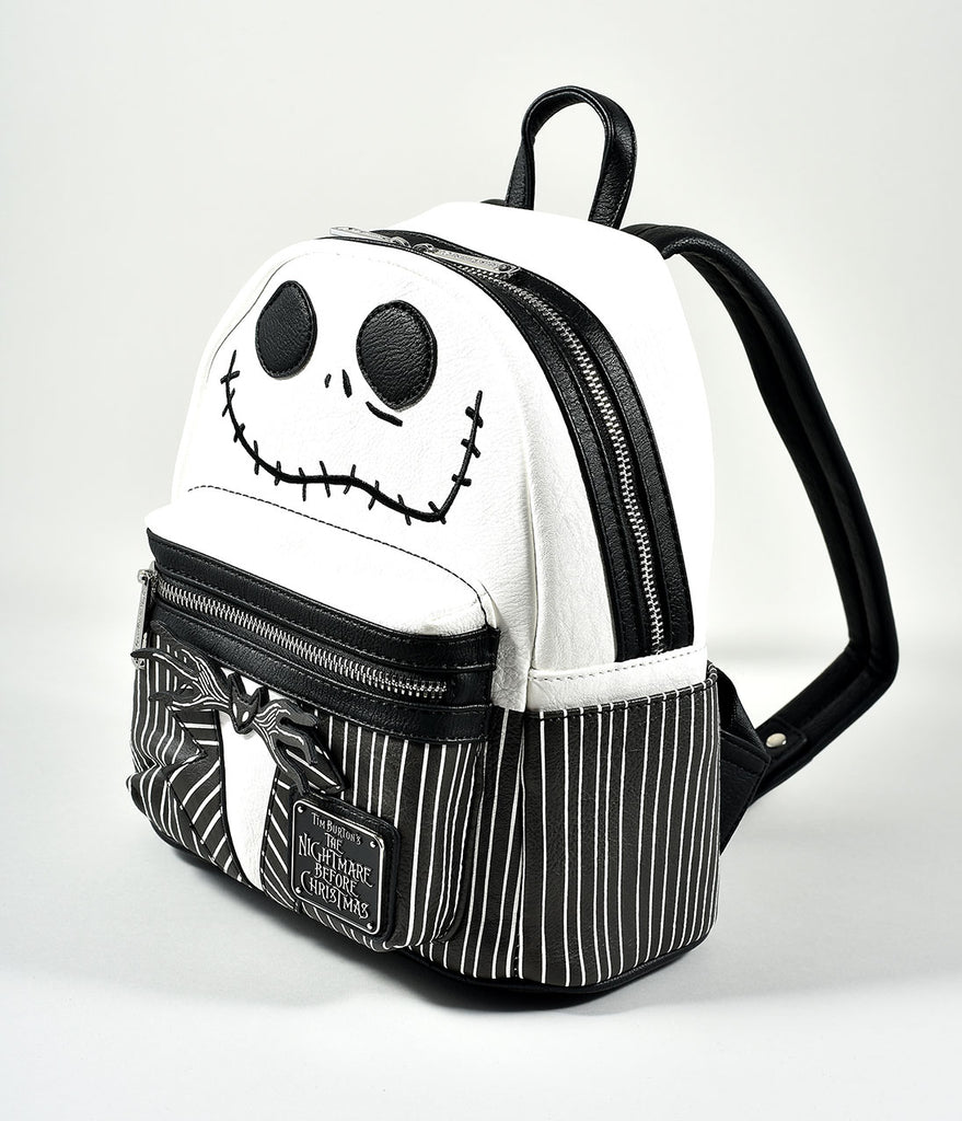 Black & White Nightmare Before Christmas Jack Leatherette Mini Backpack