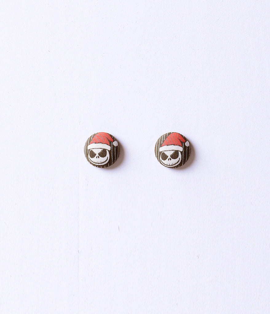 Black, White, & Red Santa Jack Button Post Earrings